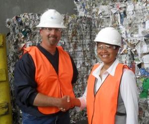 Plant Manager Dave Kahn and County Legislator Francena Amparo