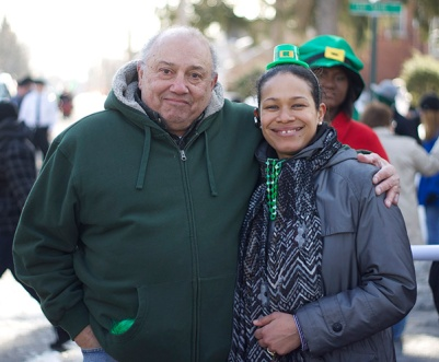 Local resident with Legislator Amparo at the St. Patrick's Day Parade