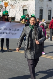 Legislator Amparo marching in the Wappinger Falls St. Patrick's Day Parade