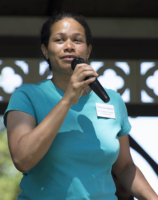 Legislator Amparo speaking at the 4th Annual Health and Wellness Fair on June 7, 2014. Photo Credit: Travis Jones, Fortune Visuals